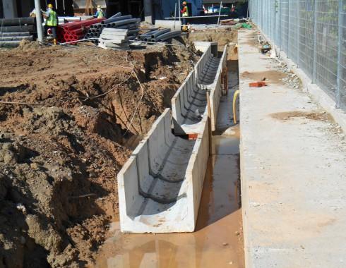 retention pond stream construction